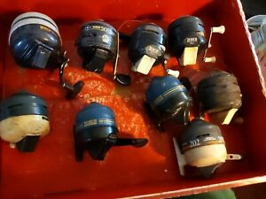 Lot of 9 Vintage Fishing Reels Zebco Used #202 #888 #222 50 classic fish cast