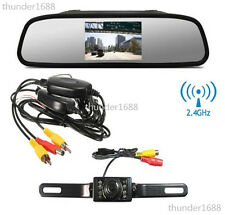 "4.3"" Screen Car Rear View Backup Mirror Monitor+Wireless Reverse IR Camera Kit"
