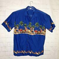 Palmwave Hawaii Mens Casual Shirt Size 2XL Hawaiian Woody Cars and Surfboards