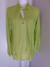 Vtg Womens Size L/Xl Handmade Lime Green Sparkly Mod Long Sleeve Shirt Tie Bow