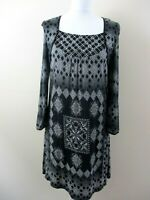 NEXT size 16 tunic dress stretch criss cross black & white beads abstract