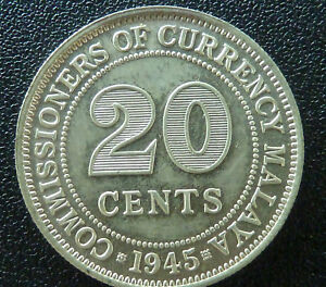 Malaya (British Colony) 1945 20 Cents - A Good Quality Collectible