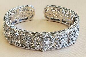 Judith Ripka 925 Sterling Silver CZ  Wide Flower Cuff Bracelet
