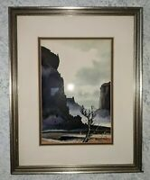 Framed, matted, Western watercolor painting signed Robert Draper, listed artist