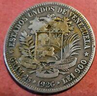Venezuela 5 Bolivares  1926 Plata Fuerte de Simon Bolivar @ Bella @
