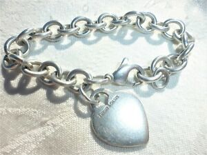 """Tiffany & Co. Sterling Silver .925 Heart Tag Charm 7.5"""" Link Bracelet Amazing on"""