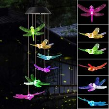 Led Dragonfly Wind Chimes Solar Color Changing Home Garden Decor Light Lamp