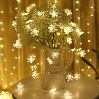 10/20 LEDs Battery Operated Mini LED Copper Snowflake Wire String Fairy Lights