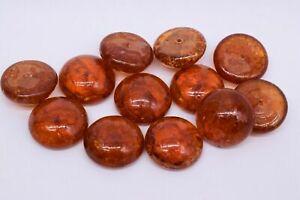 10 Vintage Orange Crackle Like Round Glass Cabochon 23 mm
