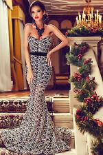 Abito lungo aperto Drappo Scollo nudo aderente Ricamo Mermaid Evening Gown L