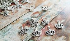 10 Crown Jewelry Charms Queen Pendants Antique Silver Tone Alice In Wonderland