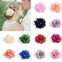 Stoff Rose Blumen Haarband Zopfgummi Haarschmuck Haargummi Zopfband Halter