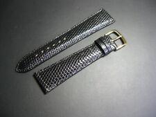 20 mm Vintage Black Genuine Lizard Watch Strap! band belt Made in France 20/16