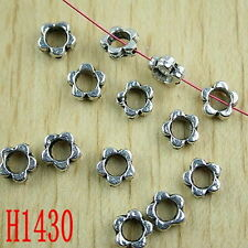 30pcs Tibetan silver color 7mm flower shaped frame spacer beads h1430