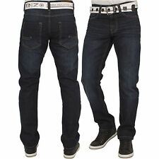 New ENZO Mens Basic Designer Straight Regular Leg Blue Denim Jeans Big Sizes