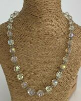 Vintage Necklace Clear Glass Faceted Beaded Chocker Sparkly Pretty