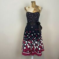 Bnwt Desigual Flared A-line Paloma Slim Fit Skirt Black Circle Xs  S  M Super