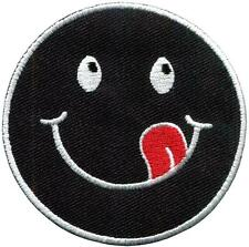 Black smiley face yummy retro fun embroidered applique iron-on patch new S-1195