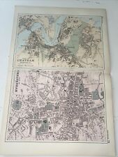 c1889 Chatham Cheltenham British Isles Map Bacon Antique Vgc