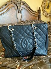 CHANEL Black Quilted Caviar Leather Grand Shopping Tote Bag