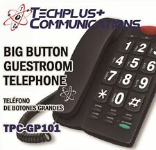 TECHPLUS+ COMMUNICATIONS BIG BUTTON GUESTROOM PHONE FOR HOTEL OR HOME (BLACK)