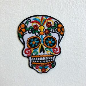 Day of The Dead Sugar Skull Iron Sew on Embroidered Patch