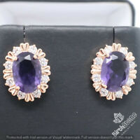 Large 4Ct Oval Amethyst Stud Earrings Women Jewelry Gift 14K Rose Gold Plated