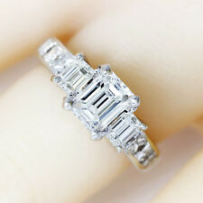 Emerald Cut Diamond 3 Stone Engagement Ring w/ Accents in 18kt White Gold 2.11ct