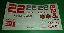 NASCAR DECALS #22 BOBBY ALLISON DICK BROOKS COCA-COLA DODGE CHARGER DAYTONA CITY