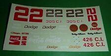 NASCAR DECALS #22 BOBBY ALLISON DICK BROOKS COCA-COLA DODGE CHARGER DAYTONA CITY