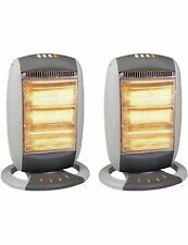 2 X ELECTRIC PORTABLE 1200W HALOGEN OSCILLATING HALOGEN HEATERS FOR HOME OFFICE