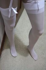 """Medium /Long White Stockings, Garter Belt,Lace Thong 5 Piece.""""ONLY AT LYNNIES"""""""