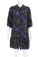 SALONI Womens Long Sleeve Floral Tyra Dress Black Blue Pink Size 6 12409381