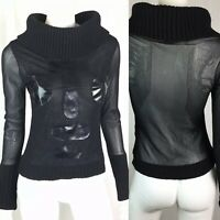 $126 THE END Firenze Italy Women's Large Black Wool Mesh Face Sheer Top Vintage