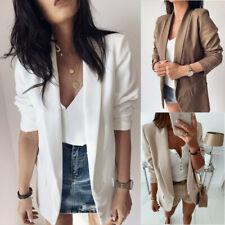 Womens Long Sleeve Lapel Blazer Suit Casual Office Work Jacket Coat Cardigan US