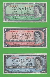 1954 Replacement Lot Of 3 Canadian $1 *BM, $2 *BB & $5 *RC All Beattie Rasminsky