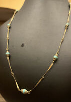 """STUNNING VINTAGE ART DECO CZECH CRAFTED TURQUOISE NECKLACE 24"""""""