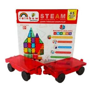 UK 65PC Magnetic Tiles 2X car base STEM toddler toy - strong as Magna Playmags