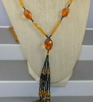 Antique Art Deco Topaz Color Glass Bead & Hematite Flapper Tassel Necklace