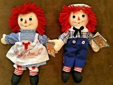Raggedy Ann & Raggedy Andy Pair with Tags NEW