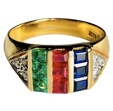 18K Yellow Gold Blue Sapphire Ruby Emerald Diamond Vintage Ring Wide Band 6.25