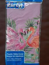 """Pink Flamingo Tropical Plastic Table Cover 54"""" x 108"""" NEW"""