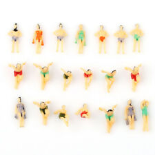 20 Multicolor Model Beach People Figures N Scale 1:150 Fun Poses Dollhouse Art