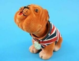British Nodding Dog Bulldog UK Union Jack Waist Coat Souvenir Gift Car Dashboard
