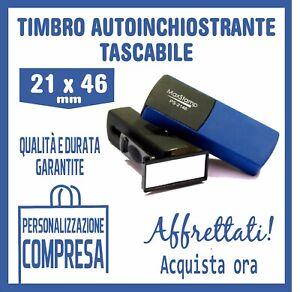 TIMBRO TASCABILE POCKET AUTOINCHIOSTRANTE + GOMMINA RESINA 46X21 PERSONALIZZATO