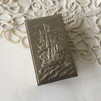 Vintage Silver Tone Metal Large Match Box Holder Embossed Sailing Ship