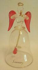 Ganz Glass Angel Bell January Birthday Garnet Red Wings & Clapper Gold Halo