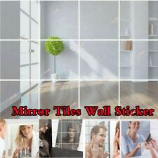 9Pcs Glass Mirror Tiles Wall Sticker Square Self Adhesive Stick On DIY Home UK
