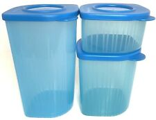 Tupperware Fresh N Cool Refrigerator Containers Set of 3 Blue Assorted Size New