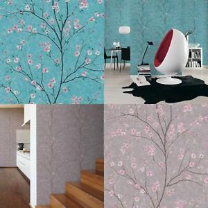 Cherry Blossom Grey Or Teal Metropolitan Stories Vinyl Wallpaper Mio Tokyo